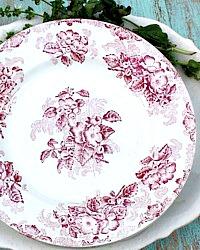 Antique French Red Transferware Fleur de Pommier Floral Plate Set 6