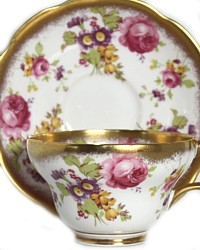 Foley Tea Cup and Saucer Rose Garden Bouquet-antique, gold, pink,floral, flowers,mint,set,purple,garden,gilt,teacup
