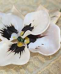Antique French Glass Pansy Flower-victorian, opaline,painted, silk, purple,pink, ribbon, pin