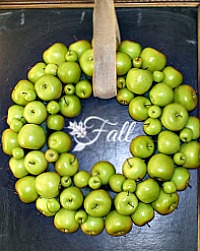 Large Faux Green Apple Wreath with Linen Ribbon