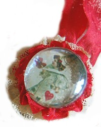 Sweet Vintage Reproduction Cherub Ornament-antique,gift, ribbon,lace,red,postcard,