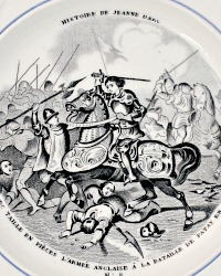 Antique 1860 French Gien Faience Story Plate Jean D'Arc Transferware