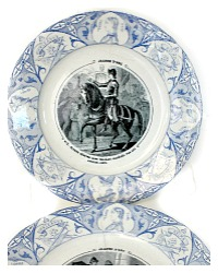 19th Century French Story Plate Jeanne D'Arc Set of 2