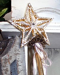 Rhinestone Double Sided Glittering Star Holiday Wand-French, Gold, bullion, lame, lace, vintage, lavender, christmas, santos, angels