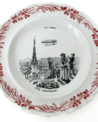 19th Century French Assiettes Parlantes LES SPORTS Creil & Montereau Zeppelin Set of 4