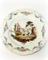 Antique French Lille 1767 Faience Hand Painted Plate
