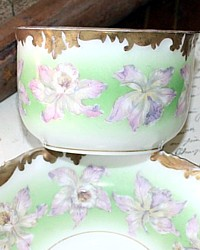 Antique French Tressemann  & Vogt Handpainted Orchid Limoges Teacup-hand, painted,1900's, pink, purple, lavender, lilac,tea,saucer,scalloped,gilt, enameled, enamelling,green,floral,delicate,Cup