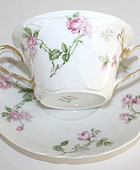 Antique French Haviland Limoges Schleiger 31A Pink Rose Bouillon Cup & Saucer-floral,gilt,soup, bouillion,scallop,