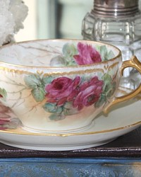 Antique French Haviland Hand Painted Limoges Roses Tea Cup-pink, peach,cream,handpainted,teacup,set,delicate, sterling, investment,art, porcelain,floral, burgundy,2oth century, 1900,Charles, Field, GDA,