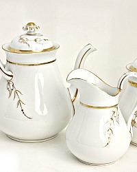 19th Century French Haviland Limoges White Tea Set Gilt