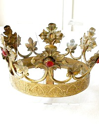19th Century Gilt Brass Madonna Tiara Crown Red Colored Glass Jewels