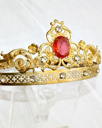 19th Century Gilt Brass Madonna Tiara Crown Rose Colored Glass Jewel