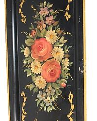 Antique Black Hand Painted Rose Toleware Tray Estate-pink, floral,massachusetts,gilt, gold, red,flower,white, lavender, violet,purple, blue, bellflower, patina, designer,collection