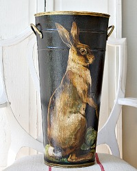 Limited Edition French Metal Flower Bucket French Hare Noire