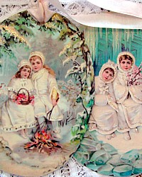 FrenchGardenHouse Victorian Scrap Large Winter Tags� Decoration Set-Holiday, Christmas,ephemera,antique,place cards, favors,baked goods, birthday, tea party,napkin,flower, party, autumn