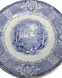 Antique Staffordshire Panama Blue Transferwar Plate-19th century,castle,river,trees,romantic,collection