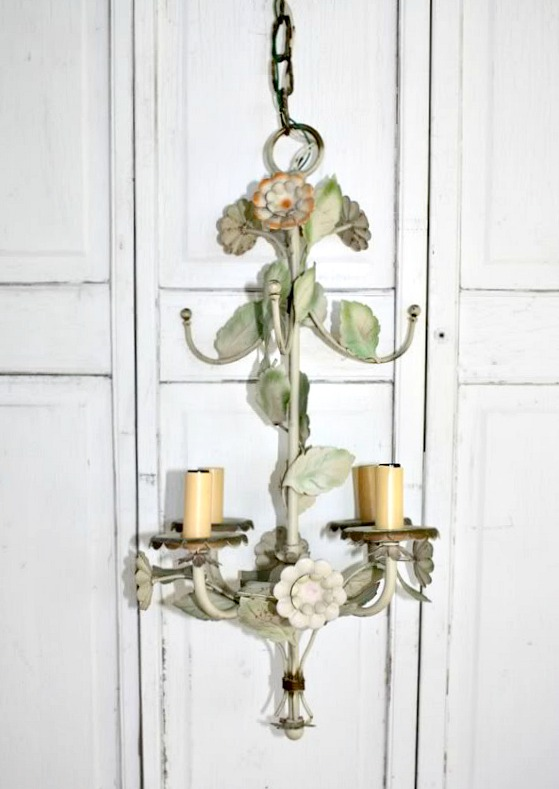 Vintage Painted Metal Tole On Pinterest Vintage Italian Sconces And Flower Chandelier