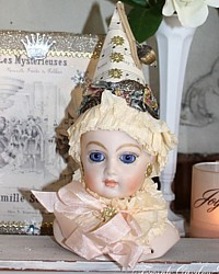 Vintage Porcelain Pierrette Doll & Glitter Display Box One of a Kind-antique, hand painted, French, lame, lace, pink, art, one of a kind, heirloom, german glass, dresden,millinery, christmas,