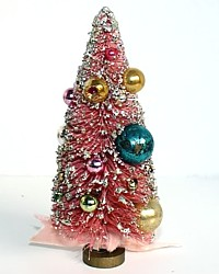 Vintage Pink Bottlebrush Holiday Tree 1940's-antique,mercury, balls, ornaments,shabby, christmas