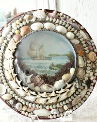 Antique Sailors Valentine Victorian Sea Shell Art Bubble Glass Ship Frame
