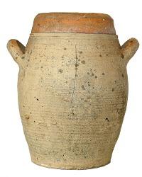 Antique French Pot en Gres Storage Crock Jar Brittany Blanc Large