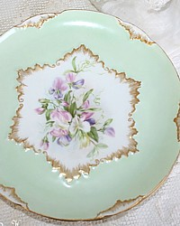 Pair Antique French Handpainted Limoges Floral Cabinet Plates-Charles Field Haviland, CDF, signed, sweet peas, green,apricot, purple,pink, gilt, scalloped,artist,thistle, scottish,Victorian,hand, painted,mint,gold, sterling,collection,