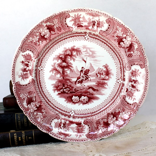 Antique 19th Century Red Transferware Plate Belzoni Enoch