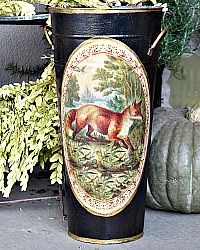 Limited Edition French Metal Flower Bucket French Fox Renard