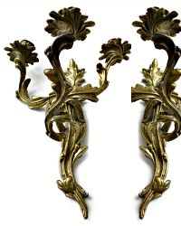 French Louis XV Rococo Style Wall Candle Sconces 3 Arm Pair