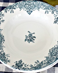 Antique French Blue Floral Transferware Assiete Cruise Clairefontaine Set of 6