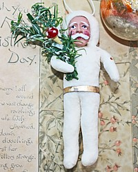 Victorian Reproduction Spun Cotton Santa Ornament-antique,mushroom, holiday, christmas, tree,gift,package