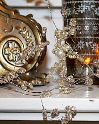 Vintage Reproduction Silver Bullion Floral Garland-antique, Christmas, mantel, French,decoration