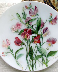 Antique Oil Painting Sweet Peas Bristol Glass Plate-Victorian, Pink, hand painted, floral,white