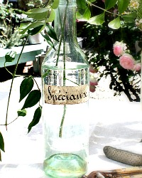 Antique French Glass Wine Bottle Speciaux Paper Label