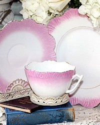 Antique Victorian Pink Lustreware Teacup Trio-luster,luncheon, cake,collection,mother of pearl,victoriana,shells, embossed,gilt, gold, hand painted, tea, cup